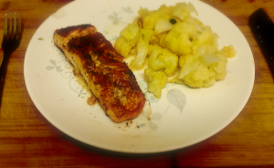 Pan Roasted Norwegian Salmon with Cheesy Cauliflower